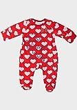 BABALUNO BABY GIRLS FLEECE SLEEPSUIT ROMPER BABYGROW HEART RED 0 33 66 99 12m