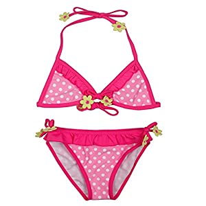 Girls 2-6x Red Polka Dots Two Pieces Halter Bikini Swimsuit Cute Bikini Sets (4T(waistline:48CM))