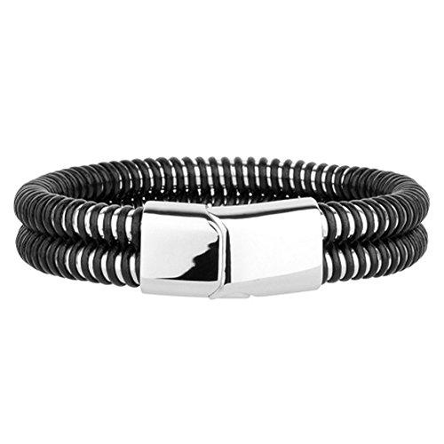 Men'S Stainless Steel Bracelet With Overlapping Black Rubber
