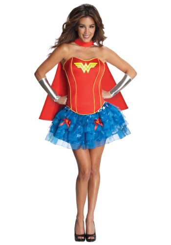 Secret Wishes Dc Comics Wonder Woman Corset And Tutu Costume, Blue/Red, Medium front-828594