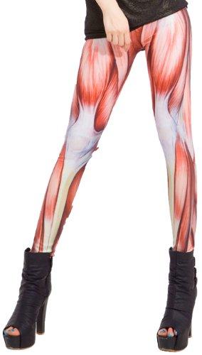 erdbeerloft - Damen Mädchen Muskulatur Muskel Leggings/Jeggings, Onesize Größe XS-L, rot weiß Karneval Kostüm Hose Pants
