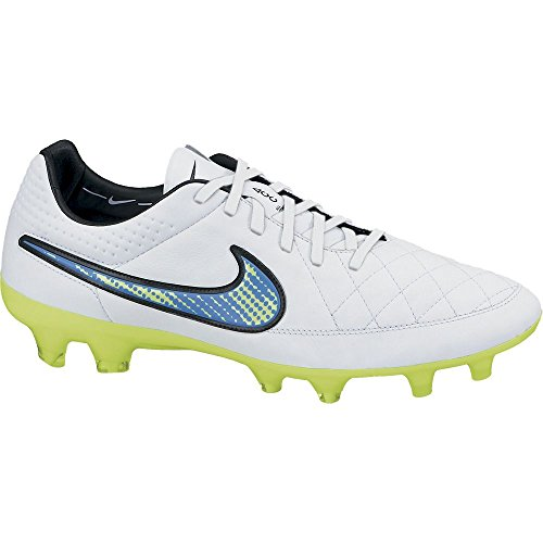 Nike Tiempo Legend V FG Soccer Cleat (White, Soar Volt) Shine Through Collection (8 US Men)