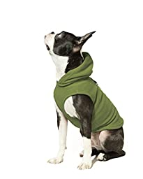 Gooby Every Day Fleece Cold Weather Dog Vest with Hoodie for Small Dogs, Green, Large