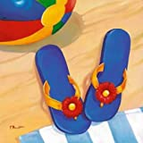 Blue Flip Flops by Brent, Paul - Fine Art Print on PAPER : 10.5 x 10.5 Inches