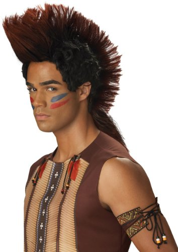 California Costumes Men's Indian Warrior Wig, Auburn/Black, One Size - 1