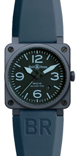 Bell and Ross Black Dial Automatic Blue Rubber Mens Watch BR0392CREAMBLUE