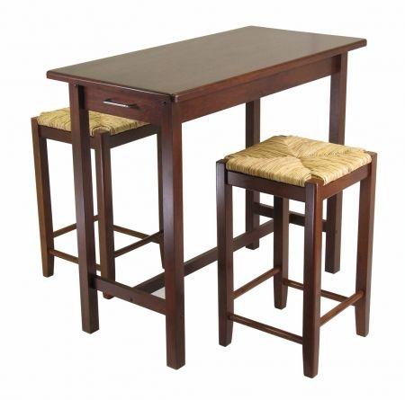 Cheap Antique Walnut Kitchen Island Set with Rush Seats – Winsome 94374 (B005LWO5CG)