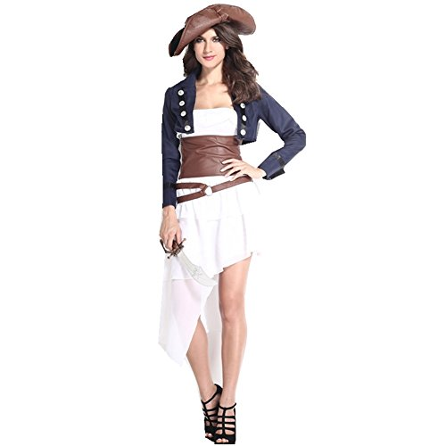 5pcs Women Colonial Pirate jacket strapless dress hat waist closure skirt Costume