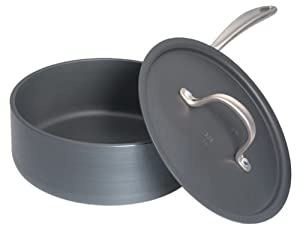 Calphalon D87821 2P Commercial Hard-Anodized 2-1 2-Quart Shallow Saucepan with Lid by Calphalon