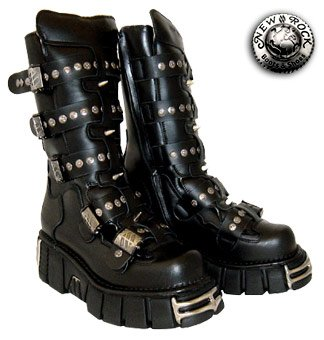 New Rock Boots Style 134 (Black/Silver) - (7 UK)