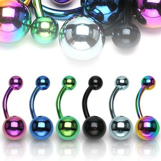 Titanium Anodized Over Stainless Steel Navel Ring 14G 3/8
