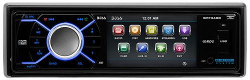 BOSS Audio BV7348B In-Dash Single-Din 3.2-inch Detachable Screen DVD/CD/USB/SD/MP4/MP3 Player Receiver Bluetooth Streaming Bluetooth Hands-free with Remote