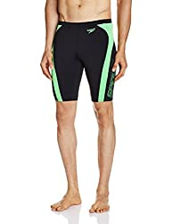 Speedo Male Swimwear Logo Graphic Solid Splice Jammer (8901326546512_809668A833_38_Black and Fluo Green)