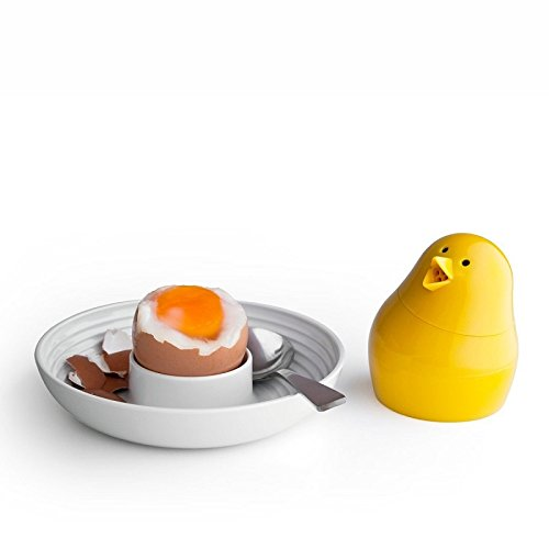 Jib-Jib Cool Egg Cup, Salt and Pepper Shaker Set by Qualy Design Studio. White Egg Tray and Yellow Spices Shaker. Unique Breakfast Accessory for Adults and Kids. Novelty Egg Cup. (Egg Cups Chicken Feet compare prices)