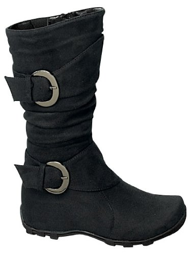 Best 79F Baby Girls Slouch Mid Calf Boots Black