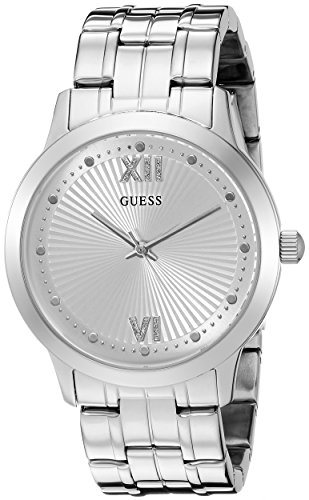 GUESS Women's U0634L1 Vintage Inspired Silver-Tone Watch (Guess Analog Silver Dial compare prices)