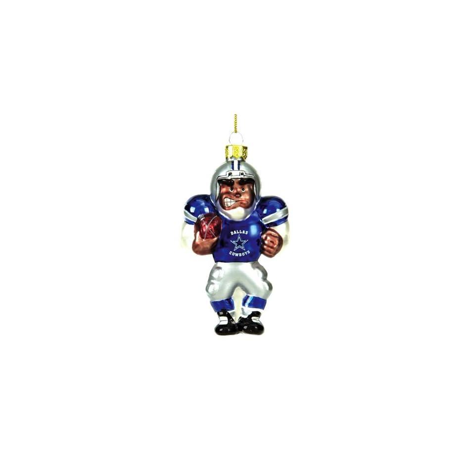 Dallas Cowboys NFL Glass Black Football Player Christmas Tree Ornament