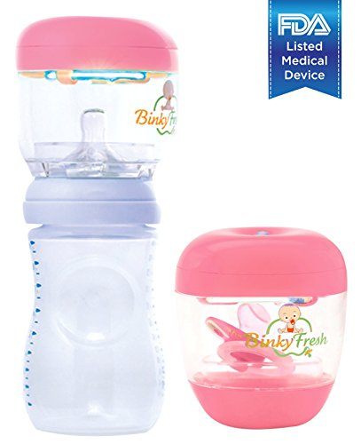 #1 Pacifier & Baby Bottle Nipple UV Sanitizer. Clinically Tested & Proven, FDA Reg. Kills up to 99.9% of Germs & Bacteria! The Only UV Baby Sanitizer That Is Disease Specific! (Pink) - 1