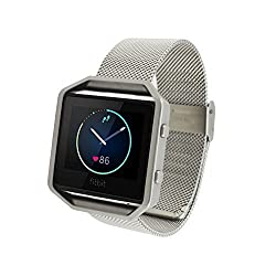 Fitbit Blaze Replacement Band, DAYJOY Premium Stainless Steel Watch Strap Adjustbable Bracelet Band for Fitbit Blaze(SILVER.LARGE SIZE)