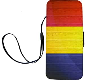 Rikki Knight Romania Flag on Distressed Wood Flip Wallet iPhoneCase with Magnetic Flap for iPhone 5/5s - Romania Flag on Distressed Wood