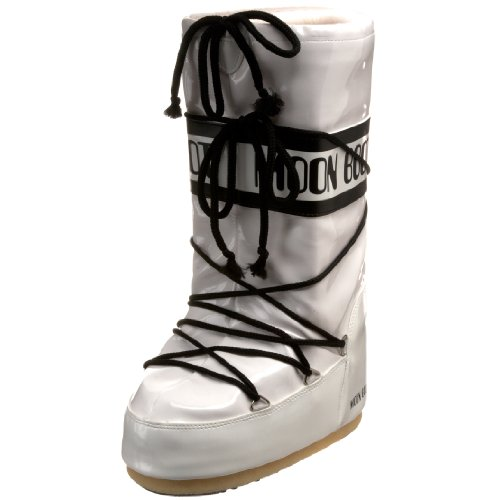 Tecnica Moon Boot Women's Vinil Winter Boot,White/Black,35-38 EU (3-6.5 M US Women's)