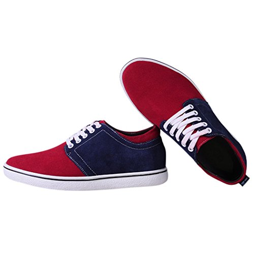 KOOL@VOLF Men's Unique With Two Colors Splicing Together Design Easy Matching Canvas Heighten Shoes
