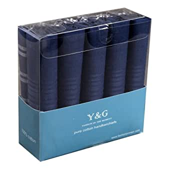 MH1034 Excellent Design Men's 10 Piece Handkerchief Blue Set With Presentation Box Best Presents Idea By Y&G