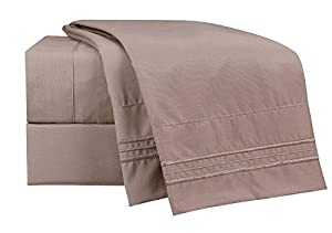 #1 Bed Sheet Set on Amazon - SALE - HIGHEST QUALITY Brushed Microfiber 1800 Bedding - Wrinkle, Fade, Stain Resistant - Hypoallergenic - LIFETIME MONEY BACK - Mellanni (Queen, Tan)