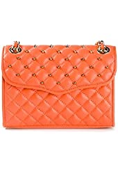 Rebecca Minkoff Quilted Mini Affair with Studs Leather Shoulder Flap Bag Orangina