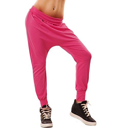 Toocool - Pantaloni donna fitness jogging sarouel turca cavallo basso basic nuovi CC-1278[fuxia,Taglia unica]