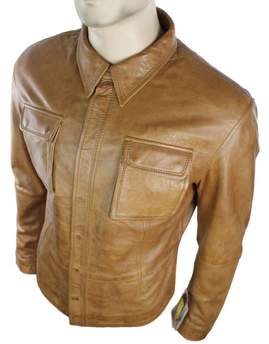 Mens Fitted Vintage Shirt Style Retro Leather Jacket Tan Brown Casual
