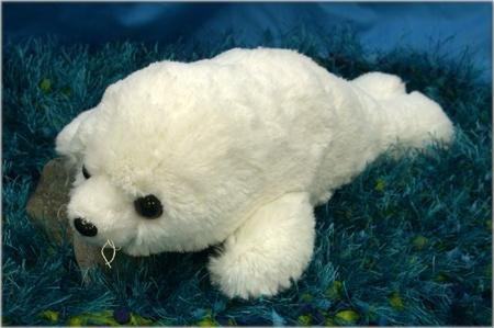 "Wishpets 12"" Floppy Soft Harp Seal White Plush Toy"