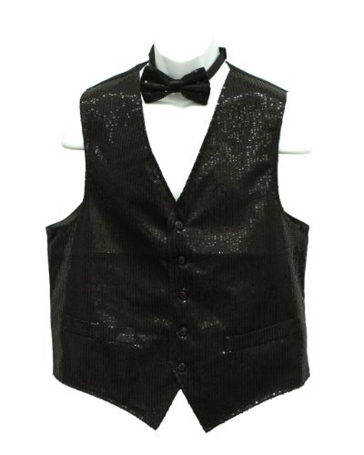 Fine Brand Shop Men's Black Sequin Suit Vest with Bow tie Set - X-Small