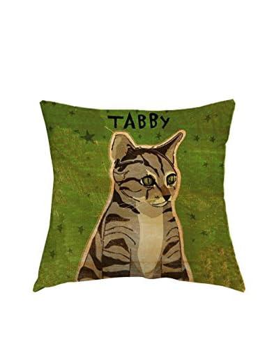 LITTLE FRIENDS by MANIFATTURE COTONIERE Cojín Tabby Cat Verde