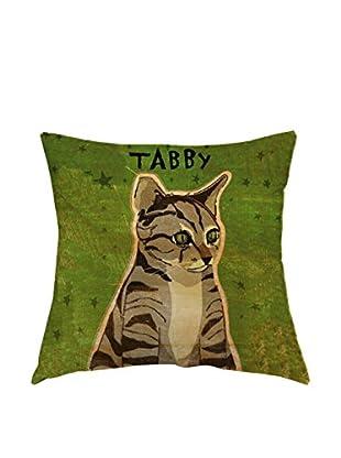 LITTLE FRIENDS by MANIFATTURE COTONIERE Cojín Tabby Cat (Verde)