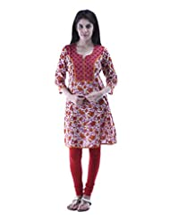 Aarr Round Neck Cotton 3/4th Sleeves Casual Printed A-Line Kurta For Women