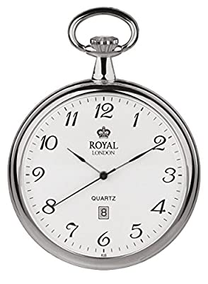 Royal London Pocket Watch 90015-01 Silver Tone Open Face