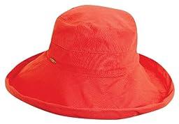 Scala Women's Cotton Big Brim Hat, Coral, One Size