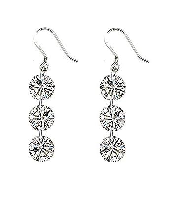 Celebrity Jewellery Sparkling Clear Cubic Zirconia S925 Sterling Silver Drop Hook Earrings for Women Gift