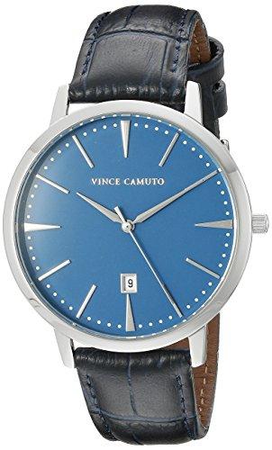 Vince la socio Camuto Unisex reloj infantil de cuarzo con esfera azul y correa de piel azul marino VC/1073lbsv