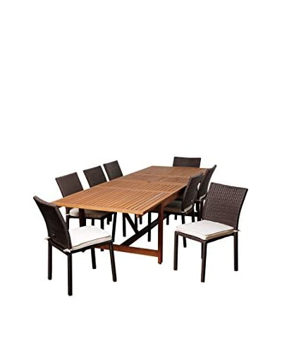 Amazonia Evergreen 9-Piece Eucalyptus Wicker Extendable Rectangular Dining Set with Off-White Cushio...