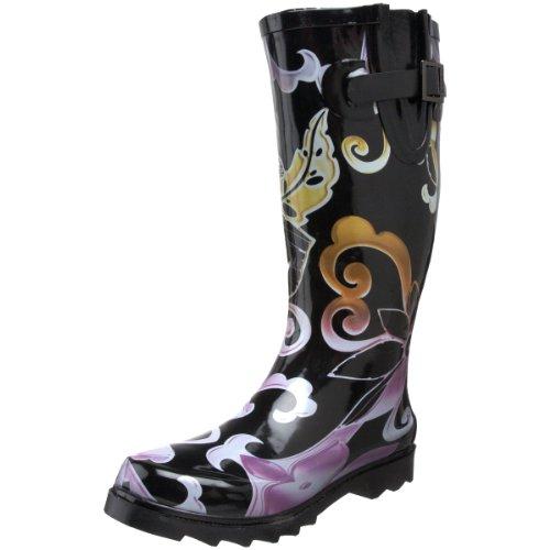 Chooka Women's Retro Flower Knee-High Boot,Black,6 M US