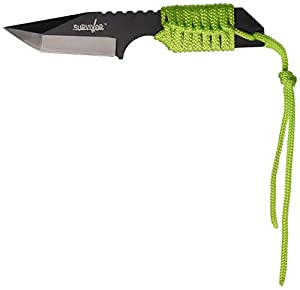 Survivor HK-106320GN Fixed Blade Outdoor Knife, Black Tanto Blade, Neon Green Cord-Wrapped Handle, 7-Inch Overall