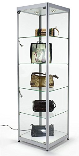Tempered Glass Curio Cabinet With 6 Halogen Lights, Free-Standing, Locking With Floor Levelers And 4 Green Edge Glass Shelves - Silver, Aluminum (Tempered Glass Cabinet Doors compare prices)