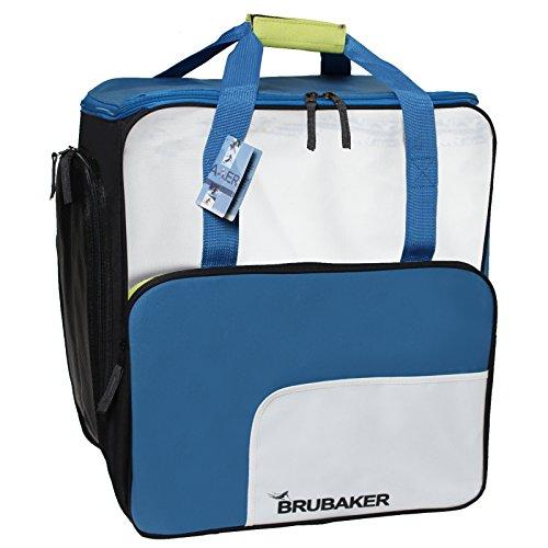 BRUBAKER 'Superfunction 2.0' Skischuhtasche Helmtasche Skischuhrucksack Komfort Stiefeltasche mit Rucksackfunktion Gletscherblau / Weiß / Neongelb - B-Ware mit Produktionsfehler