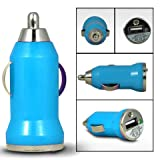 Mobile-Bits4u HTC WINDOWS PHONE 8S Light Blue Compact Mirco Bullet USB In Car Charger Adapter