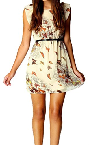 Women's Summer Vintage Retro Sleeveless Floral Butterfly Print Chiffon Skater Swing Mini Dress Party