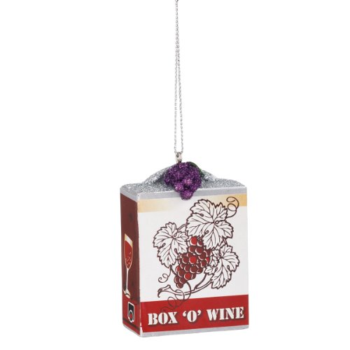 Tuscan Winery Box 'O' Wine Purple Grape Glittered Christmas Ornament