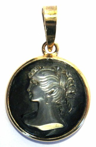 Cameo Pendant Sterling Silver 18k Gold Plated Mother of Pearl Master Carved Italian