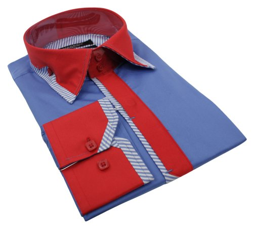 Mens Italian Design Button Collar Blue Red Design Shirt Slim Fit Smart or Casual 100% Cotton